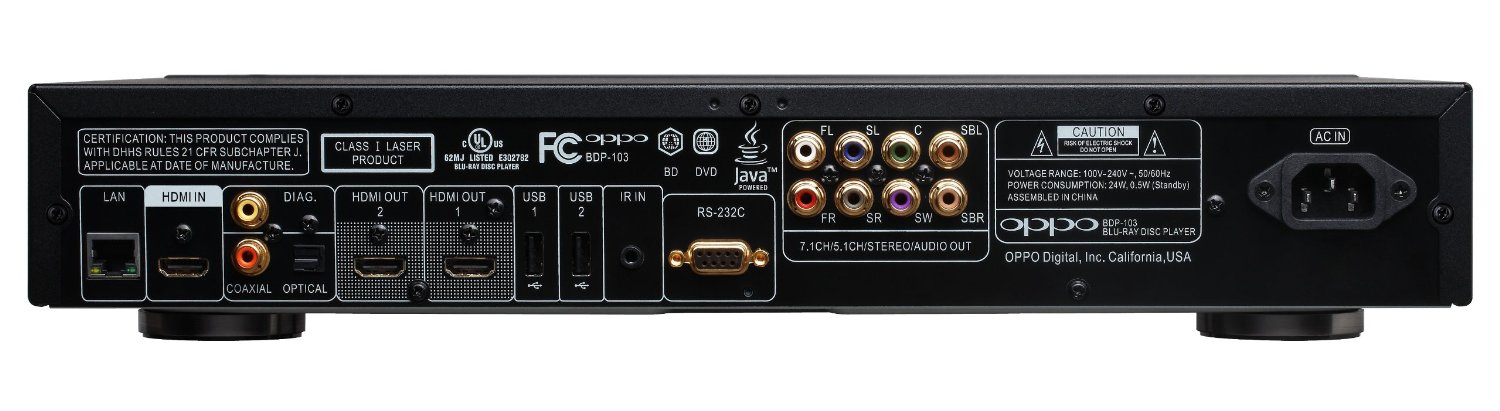 Oppo BDP-103 inputs