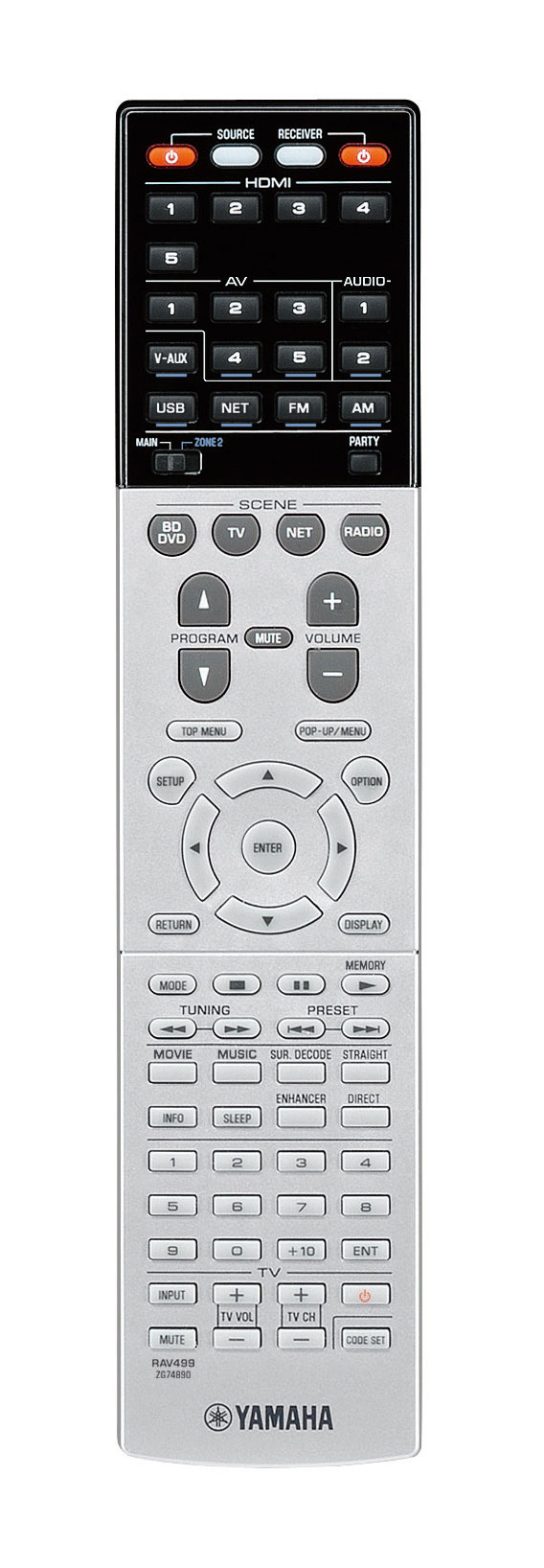 Yamaha RX-S600 remote control